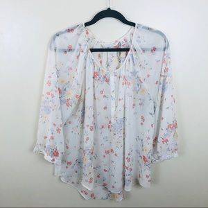 🌹LC Lauren Conrad Floral Blouse Sz XL